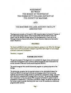 AGREEMENT BETWEEN THE BOARD OF TRUSTEES OF THE COMMUNITY COLLEGE DISTRICT OF THE COUNTY OF MACOMB AND THE MACOMB COLLEGE ADJUNCT FACULTY ASSOCIATION