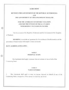 AGREEMENT BETWEEN THE GOVERNMENT OF THE REPUBLIC OF INDONESIA AND THE GOVERNMENT OF THE KINGDOM OF THAILAND