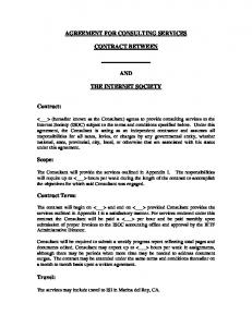 AGREEMENT FOR CONSULTING SERVICES CONTRACT BETWEEN AND THE INTERNET SOCIETY