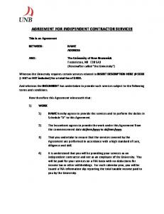 AGREEMENT FOR INDEPENDENT CONTRACTOR SERVICES