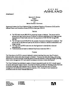 Agreement for Services between City of Ashland and Ashland Chamber of Commerce