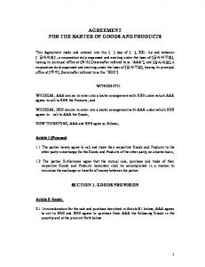 AGREEMENT FOR THE BARTER OF GOODS AND PRODUCTS