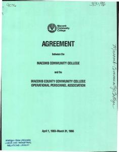 AGREEMENT. qoit, MACOMB COMMUNITY COLLEGE MACOMB COUNTY COMMUNITY COLLEGE OPERATIONAL PERSONNEL ASSOCIATION. between the. and the