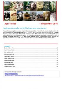 Agri Trends 13 December 2016