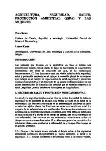 AGRICULTURA, SEGURIDAD, SALUD, PROTECCIÓN AMBIENTAL (SSPA) Y LAS MUJERES