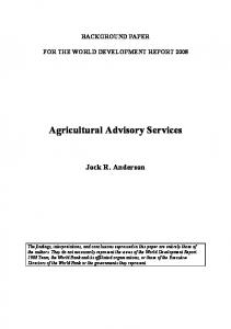 Agricultural Advisory Services