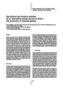 Agricultural and forestry residues as an alternative energy source for Brazil the production of biomass pellets