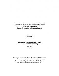 Agricultural Biomass Residue Inventories and Conversion Systems for Energy Production in Eastern Canada