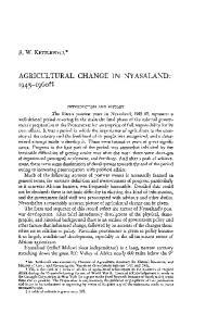 AGRICULTURAL CHANGE IN NYASALAND: