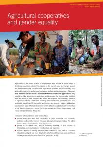Agricultural cooperatives and gender equality