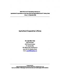 Agricultural Cooperatives in Korea