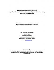 Agricultural Cooperatives in Thailand