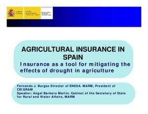 AGRICULTURAL INSURANCE IN SPAIN
