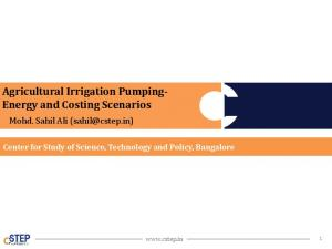 Agricultural Irrigation Pumping- Energy and Costing Scenarios