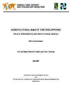 AGRICULTURAL R&D IN THE PHILIPPINES: