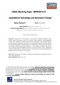 Agricultural Technology and Structural Change