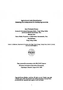 Agricultural trade liberalization: Assessing the consequences for developing countries