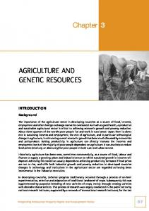 AGRICULTURE AND GENETIC RESOURCES
