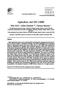 Agriculture and ISO 14000