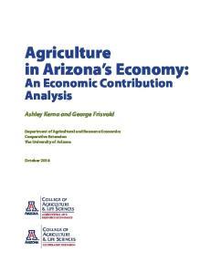Agriculture in Arizona s Economy:
