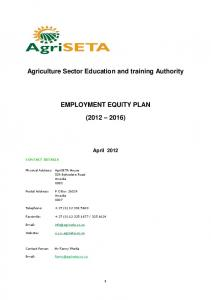Agriculture Sector Education and training Authority EMPLOYMENT EQUITY PLAN ( )