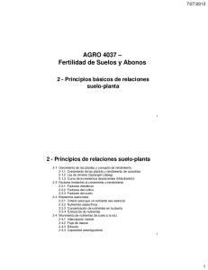 AGRO 4037 Fertilidad de Suelos y Abonos