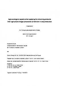 Agro-ecological aspects when applying the remaining products from agricultural biogas processes as fertilizer in crop production
