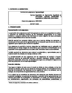 Agroecología. Carrera: AED-1002 SATCA