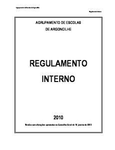 AGRUPAMENTO DE ESCOLAS DE ARGONCILHE REGULAMENTO INTERNO