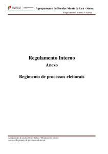 Agrupamento de Escolas Monte da Lua - Sintra Regulamento Interno Anexo Regimento de processos eleitorais