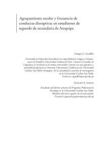 Agrupamiento escolar y frecuencia de conductas disruptivas en estudiantes de segundo de secundaria de Arequipa
