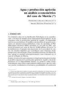 Agua y producción agrícola: un análisis econométrico del caso de Murcia (*)