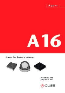 Aguss A16. Aguss. Das Gesamtprogramm. Preisliste A16