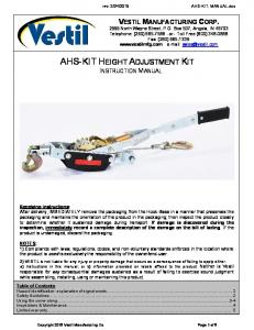 AHS-KIT HEIGHT ADJUSTMENT KIT INSTRUCTION MANUAL