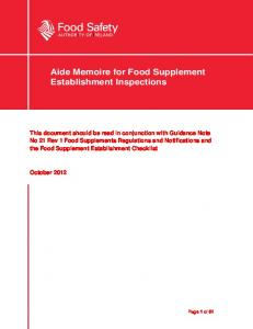 Aide Memoire for Food Supplement Establishment Inspections