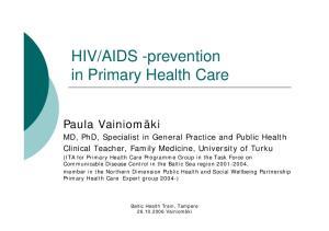 AIDS -prevention in Primary Health Care