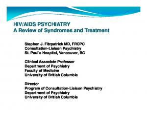 AIDS PSYCHIATRY A Review of Syndromes and Treatment