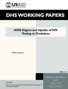 AIDS Stigma and Uptake of HIV Testing in Zimbabwe