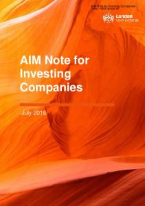 AIM Note for Investing Companies - Final AIM Notice 45. AIM Note for Investing Companies