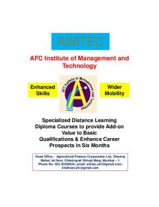 AIMTEC. AFC Institute of Management and Technology. Specialized Distance Learning