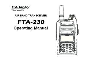 AIR BAND TRANSCEIVER. Operating Manual