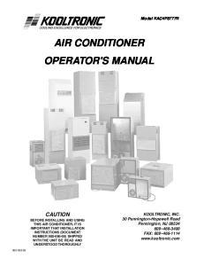 AIR CONDITIONER OPERATOR'S MANUAL
