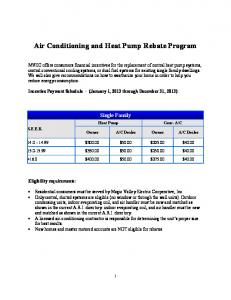 Air Conditioning and Heat Pump Rebate Program