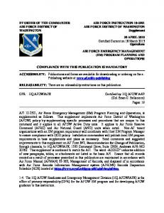 AIR FORCE INSTRUCTION AIR FORCE DISTRICT OF WASHINGTON Supplement COMPLIANCE WITH THIS PUBLICATION IS MANDATORY