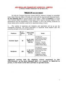 AIR INDIA AIR TRANSPORT SERVICES LIMITED (A WHOLLY OWNED SUBSIDIARY OF AIR INDIA LTD.) WALK-IN RECRUITMENT
