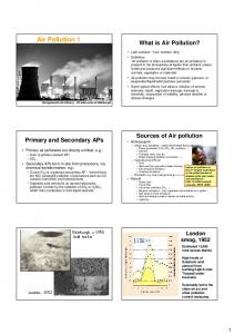 Air Pollution 1. What is Air Pollution?