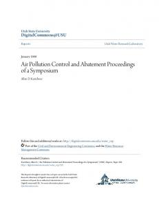 Air Pollution Control and Abatement Proceedings of a Symposium