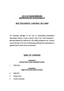 AIR POLLUTION CONTROL BY-LAWS