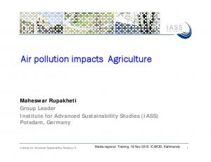 Air pollution impacts Agriculture