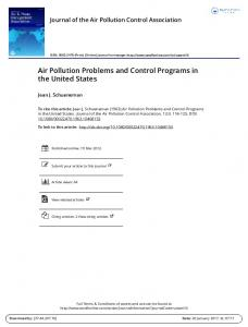 Air Pollution Problems and Control Programs in the United States